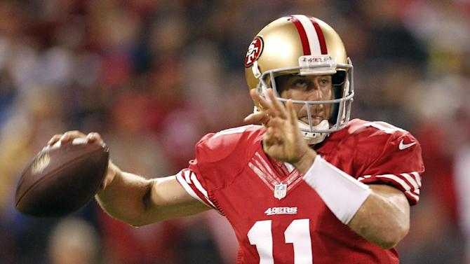 San Francisco 49ers quarterback Alex Smith drops back to throw during the fourth quarter of an NFL football game against the Detroit Lions in San Francisco, Sunday, Sept. 16, 2012. (AP Photo/Tony Avelar)