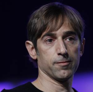 """FILE- In this Monday, Nov. 15, 2010, file photo, Zynga CEO Mark Pincus speaks at the Web 2.0 Summit in San Francisco.  Named after Pincus's late American Bulldog, Zynga, the company that brought us  """"FarmVille,"""" """"CityVille"""" and """"Bubble Safari"""" is now stretching the limits of its Facebook leash.(AP Photo/Paul Sakuma. File)"""