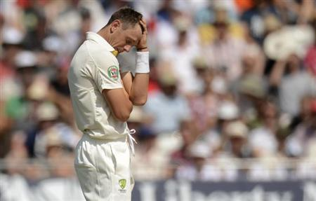 Australia's James Pattinson reacts during the first Ashes cricket test match against England at Trent Bridge cricket ground in Nottingham, England July 13, 2013. REUTERS/Philip Brown/Files