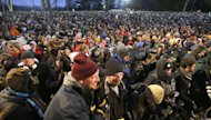 Revelers crowd the hill at Gobblers Knob waiting for the weather predicting groundhog, Punxsutawney Phil, to make his seasonal prediction during the Groundhog Day ceremony Saturday, Feb. 2, 2013, in Punxsutawney, Pa. The Groundhog Club said Phil did not see his shadow and there will be an early spring. (AP Photo/Keith Srakocic)
