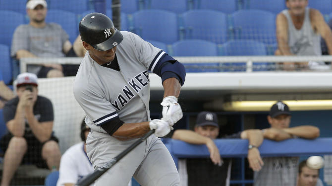 New York Yankees' Alex Rodriguez hits a first-inning home run during a rehab assignment at a minor league baseball game against the Dunedin Blue Jays, Friday, Aug. 12, 2011, in Dunedin, Fla. Rodriguez had right knee surgery July 14. (AP Photo/Chris O'Meara)