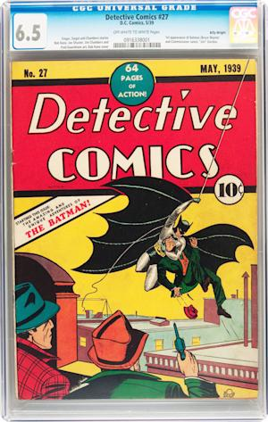 This Feb. 13, 2012 handout photo provided by Heritage Auction , shows the CGC-Certified 6.5 copy of Detective Comics #27 from the Billy Wright Collection at Heritage Auctions in Dallas,Texas. On Wednesday, the collection is expected to bring more than $2 million when Heritage Auctions offers the comics at auction in New York City. (AP Photo/Courtesy of Heritage Auctions)