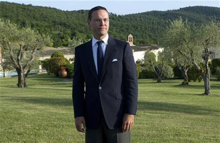 James Murdoch, chief executive of News Corporation International, poses during a conference on press and institutions at La Bagniaia di Siena