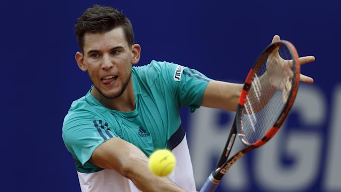 Austria's Thiem plays a shot during his tennis match against Spain's Nadal at the ATP Argentina Open in Buenos Aires