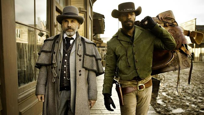 "FILE - This undated publicity image released by The Weinstein Company shows, from left, Christoph Waltz as Schultz and Jamie Foxx as Django in ""Django Unchained,"" directed by Quentin Tarantino.  The Weinstein Co. has asked a toy maker to discontinue a line of ""Django Unchained"" action figures after receiving complaints that they were offensive. The studio said Friday, Jan. 18, 2013, that such collectibles have been created for all of director Quentin Tarantino's films, including ""Inglourious Basterds,"" and that they were meant for people 17 and older, the audience for the film.  (AP Photo/The Weinstein Company, Andrew Cooper, SMPSP, File)"