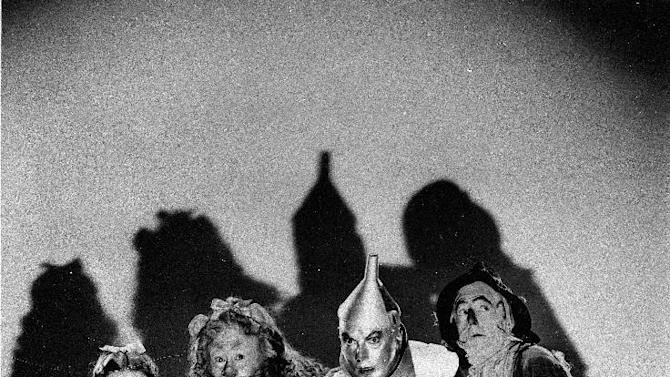 "FILE - In this undated file photo, Judy Garland, Bert Lahr, Jack Haley and Ray Bolger, left to right, are shown as they appeared in ""The Wizard of Oz,"" the classic two-hour movie which helped lead to Judy Garland's fame. (AP Photo, File)"