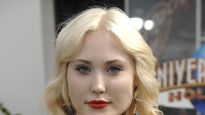 "FILE- In this file photo dated Sunday, March 27, 2011, actress and model Hayley Hasselhoff at the premiere of the feature film ""Hop"" in Universal City, California, USA. During the Plus Size Weekend event at London Fashion Week, 21-year old Hasselhoff said Friday Feb. 14, 2014, there's no reason why plus-sized models shouldn't get the same recognition as stick-thin ones, as she made her debut catwalk appearance. (AP Photo/Dan Steinberg, FILE)"