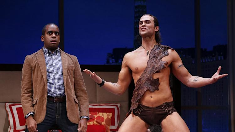 "This theater image released by Sam Rudy Media Relations shows Daniel Breaker, left, and Cheyenne Jackson during a performance of ""The Performers,"" in New York. (AP Photo/Sam Rudy Media Relations, Carol Rosegg)"