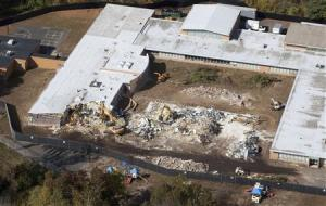 Demolition work is underway at Sandy Hook Elementary School in Newtown, Connecticut