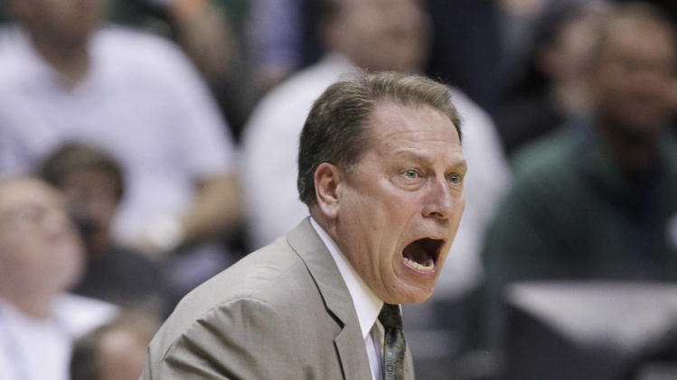 Michigan State coach Tom Izzo argues with an official in the first half of an NCAA college basketball game in the final of the Big Ten Conference men's tournament in Indianapolis, Sunday, March 11, 2012. Izzo was called for a technical foul. (AP Photo/Michael Conroy)
