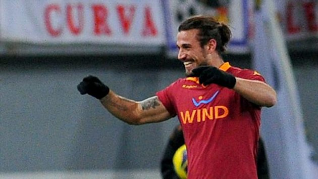 Roma forward Pablo Daniel Osvaldo celebrates (AFP)