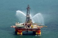 Iran&#39;s offshore oil platform in the Caspian Sea. The United States has exempted China and Singapore from sanctions over purchases of oil from Iran hours before a deadline, saying that major economies were united in pressuring Tehran