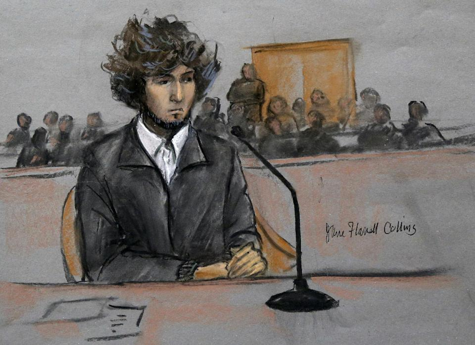 In this courtroom sketch, Boston Marathon bombing suspect Dzhokhar Tsarnaev is depicted sitting in federal court in Boston Thursday, Dec. 18, 2014...