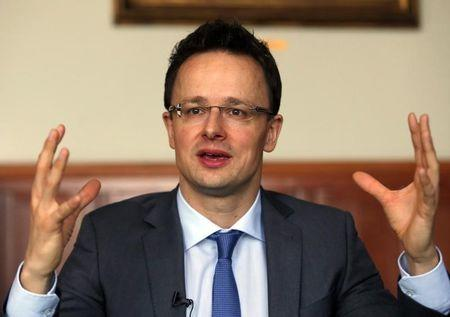 Hungarian Foreign Minister Peter Szijjarto attends an interview with Reuters in Budapest
