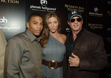 Nelly , Jennifer Flavin and Sylvester Stalone at the Planet Hollywood Las Vegas premiere of Screen Gem's Resident Evil: Extinction