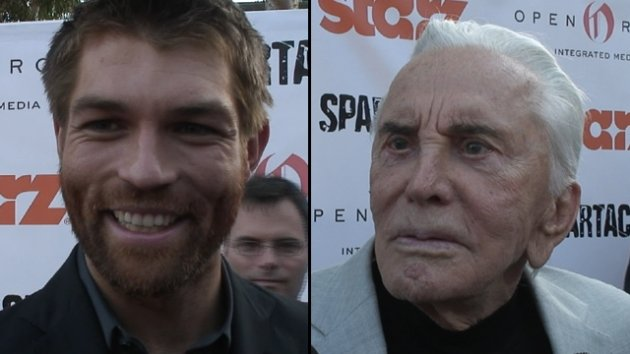 Liam McIntyre and Kirk Douglas in Los Angeles, May 31, 2012 -- Access Hollywood
