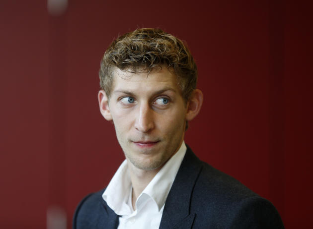 Leverkusen's top scorer Stefan Kiessling waits for the beginning of a meeting of the sports tribunal of the German soccer federation in Frankfurt, Germany, Monday, Oct. 28, 2013. Kiessling had scored