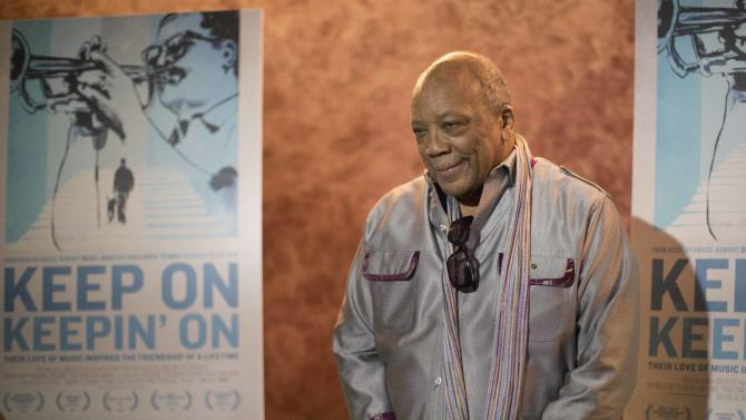 "Cast member Quincy Jones poses at the premiere of the documentary ""Keep on Keepin' On"" at The Landmark theatre in Los Angeles"