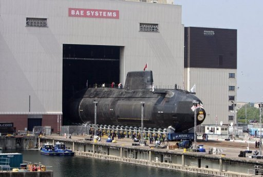 <p>An Astute class nuclear submarine is brought out of the Devonshire Dock Hall at the BAE Systems production plant in Barrow-in-Furness in 2007. Stocks in British arms manufacturer BAE and European planemaker EADS plunged after the firms said they were in merger talks to create a global aerospace and defence leader that would better rival US giant Boeing.</p>