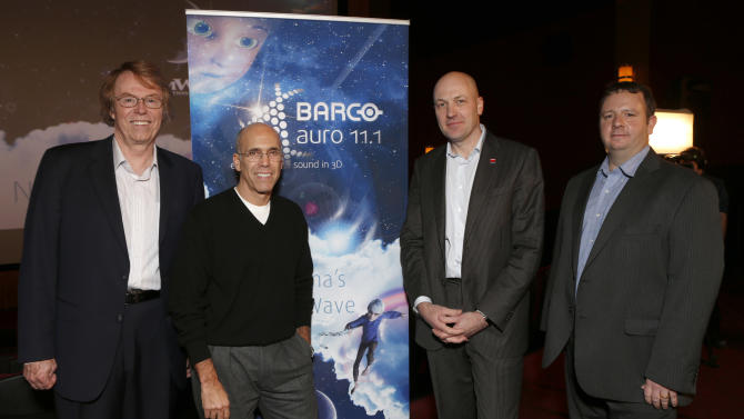 DreamWorks Animation Head of Post-Production Jim Beshears, Dreamwork Animation CEO Jeffery Katzenberg, Barco Entertainment Division CEO Wim Buyens and Barco Senior Diector of Strategic Business Development Brian Claypool attend Barco and Dreamworks' announcement of a 3D audio alliance at the Grove Theaters on Thursday Nov. 1, 2012 in Los Angeles, Calif.  (Photo by Todd Williamson/Invision for Barco/AP Images)
