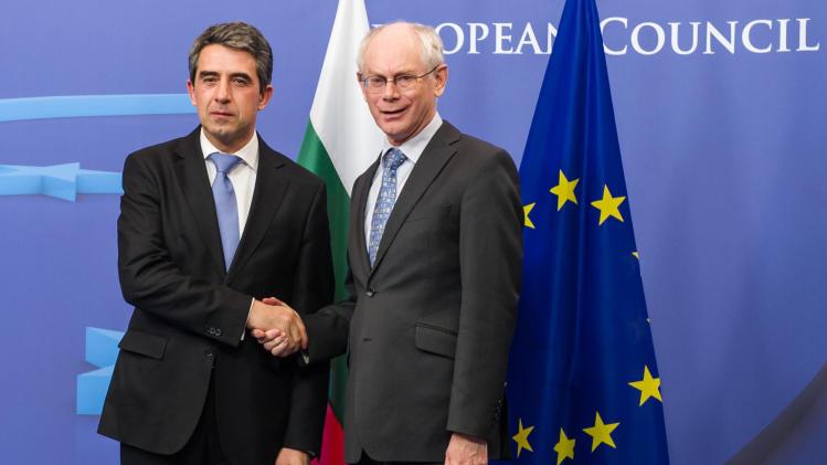 European Council President Herman Van Rompuy, right, welcomes Bulgarian President Rosen Plevneliev upon his arrival at the EU Council building in Brussels, Wednesday March 6, 2013. (AP Photo/Geert Vanden Wijngaert)