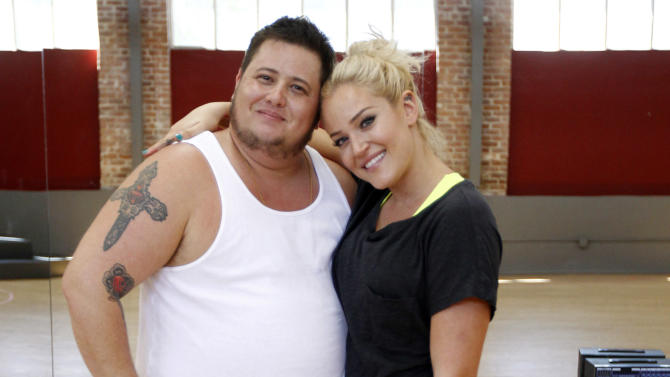 """In this Sept. 7, 2011 photo, Chaz Bono, left, and his dance partner Lacey Schwimmer pose during their rehearsal for the upcoming season of """"Dancing of the Stars"""" in Los Angeles. The new season of """"Dancing with the Stars"""" premieres Monday, Sept. 19 on ABC. (AP Photo/Matt Sayles)"""
