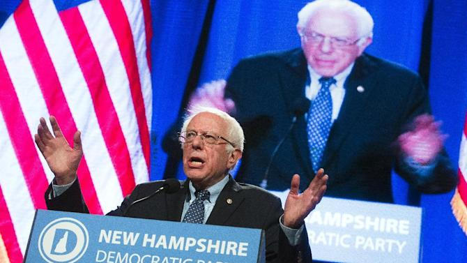 Democratic presidential candidate Sen. Bernie Sanders, I-Vt., speaks at the Verizon Wireless Center at the 2016 McIntyre Shaheen 100 Club Celebration, Friday, Feb. 5, 2016, in Manchester, N.H. (AP Photo/John Minchillo)