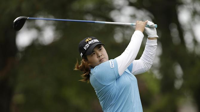 Inbee Park, of South Korea, watches her tee shot on the ninth hole during the final round of the Kingsmill Championship LPGA golf tournament in Williamsburg, Va., Sunday, May 5, 2013.  (AP Photo/Steve Helber)