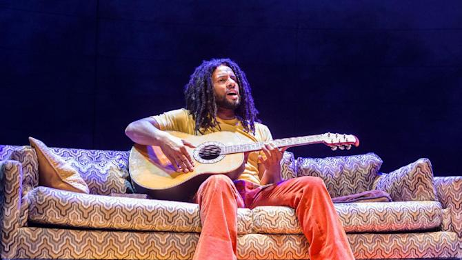 "This image released by Center Stage shows Mitchell Brunings during a performance of the musical ""Marley."" (Richard Anderson/Center Stage via AP)"
