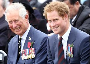 Prince Charles (L) and his younger son Prince Harry …