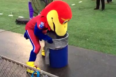 Kansas' final blowout loss in its winless season made the Jayhawk throw up in a trash can