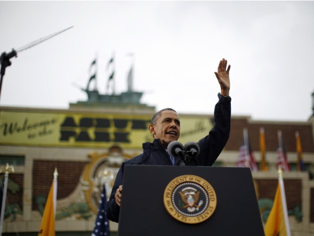 U.S. President Barack Obama is pictured after delivering remarks on the rebuilding of the Jersey Shore following Hurricane Sandy, from Asbury Park in New Jersey