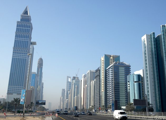 <p>Dubai skyline along Sheikh Zayed Road</p>