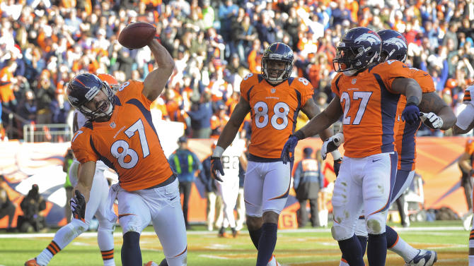 Denver Broncos wide receiver Eric Decker (87) spikes the ball after catching a touchdown pass against the Cleveland Browns in the second quarter of an NFL football game, Sunday, Dec. 23, 2012, in Denver. (AP Photo/Joe Mahoney)