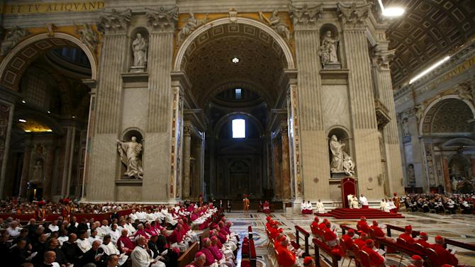 Pope Francis leads a mass to mark World Day of Prayer for the Care of Creation in Saint Peter's Basilica at the Vatican