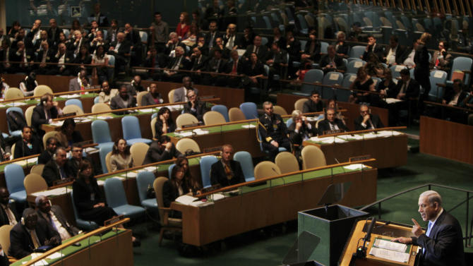 Israeli Prime Minister Benjamin Netanyahu addresses the 66th United Nations General Assembly at U.N. headquarters Friday, Sept. 23, 2011. (AP Photo/Seth Wenig)