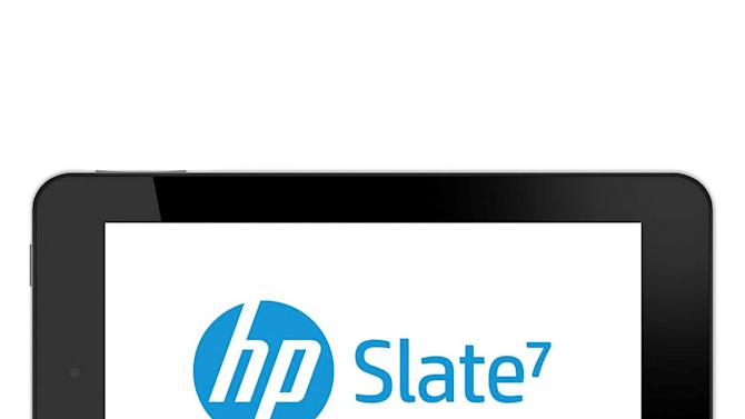 This undated product image provided by the Hewlett-Packard Co. shows the company's new tablet computer announced Sunday, Feb. 24, 2013. The HP Slate 7 will have a 7-inch screen, making it similar in size to the Amazon Kindle Fire. It will cost $169 when it goes on sale in April in the U.S. (AP Photo/Hewlett-Packard Co.)
