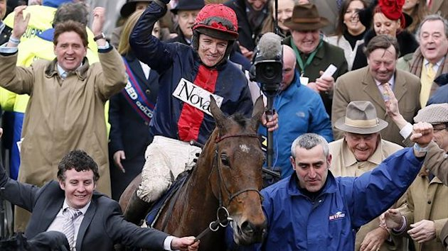 Barry Geraghty on Bobs Worth celebrates after winning The Gold Cup at the Cheltenham Festival (Reuters)