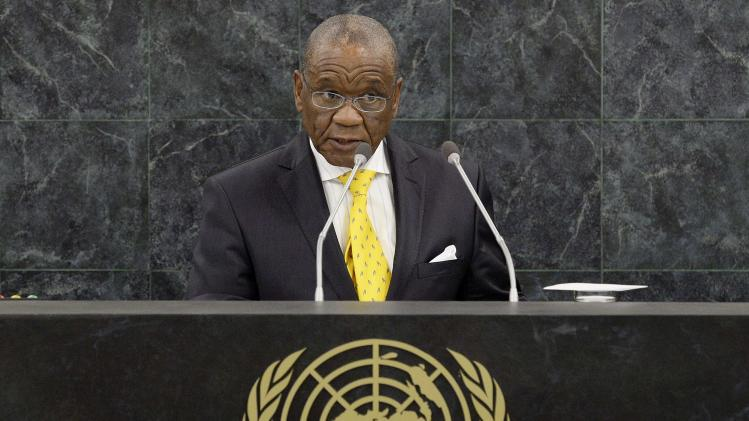 File photo of Lesotho's Prime Minister Thabane addressing the 68th United Nations General Assembly at U.N. headquarters in New York