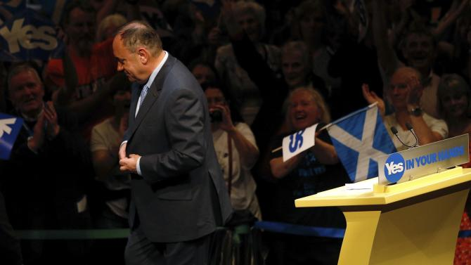 Scotland's First Minister Salmond leaves the stage after speaking at a 'Yes' campaign rally in Perth, Scotland