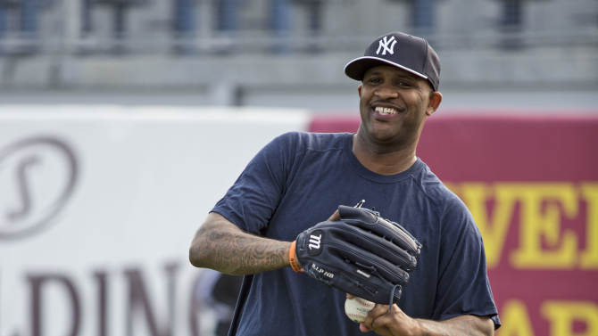 New York Yankees pitcher CC Sabathia throws the ball  during baseball spring training at George M. Steinbrenner Field Tuesday, Feb. 12, 2013, in Tampa, Fla. (AP Photo/Scott Iskowitz)