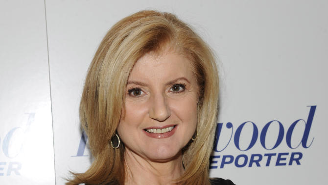 """FILE - In this April 11, 2012 file photograph released by Hollywood Reporter Arianna Huffington at The Hollywood Reporter 35 Most Powerful People in Media event in New York. Oprah Winfrey and Huffington launched """"HuffPost OWN,"""" a new section on the Huffington Post website Thursday, Nov. 1, 2012, that will feature material from the Oprah Winfrey Network and Oprah.com. The new online destination will focus on lifestyle advice and personal inspiration. (AP Photo/The Hollywood Reporter, Evan Agostini, file)"""