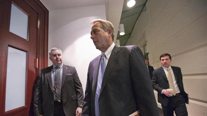 House Speaker John Boehner of Ohio arrives for a closed-door meeting with House Republicans, Tuesday, Feb. 5, 2013, on Capitol Hill in Washington. (AP Photo/J. Scott Applewhite)