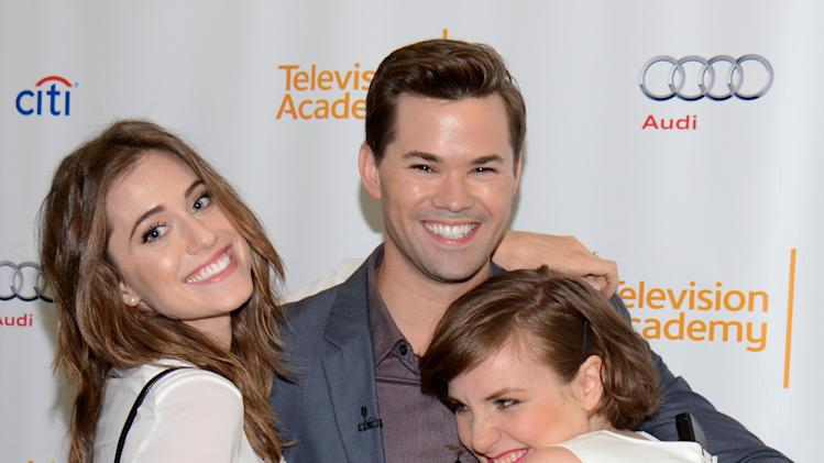 "EXCLUSIVE - From left, Allison Williams, Andrew Rannells and Lena Dunham attend ""An Evening with GIRLS"" on Thursday, March 13, 2014, at the Television Academy in the NoHo Arts District in Los Angeles. (Photo by Tonya Wise/Invision for the Television Academy/AP Images)."