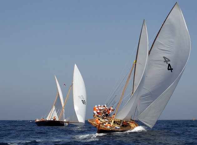 Dhows compete in the Al Gaffal Traditional Dhow Sailing Race in Dubai