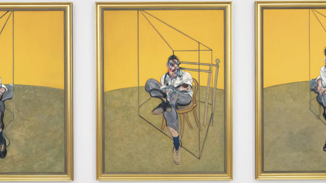 """This undated photo provided by Christie's shows """"Three Studies of Lucian Freud,"""" a triptych by Francis Bacon of his friend and artist Lucian Freud. The 1969 painting by Bacon set a world record for the most expensive artwork ever sold at auction when it sold Tuesday evening Nov. 12, 2013 for $142.4 million. (AP Photo/Christie's)"""