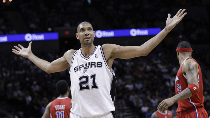 San Antonio Spurs' Tim Duncan (21) reacts to a call during the second quarter of Game 1 of a first-round NBA basketball Western Conference semifinal playoff series against the Los Angeles Clippers, Tuesday, May 15, 2012, in San Antonio. (AP Photo/Eric Gay)