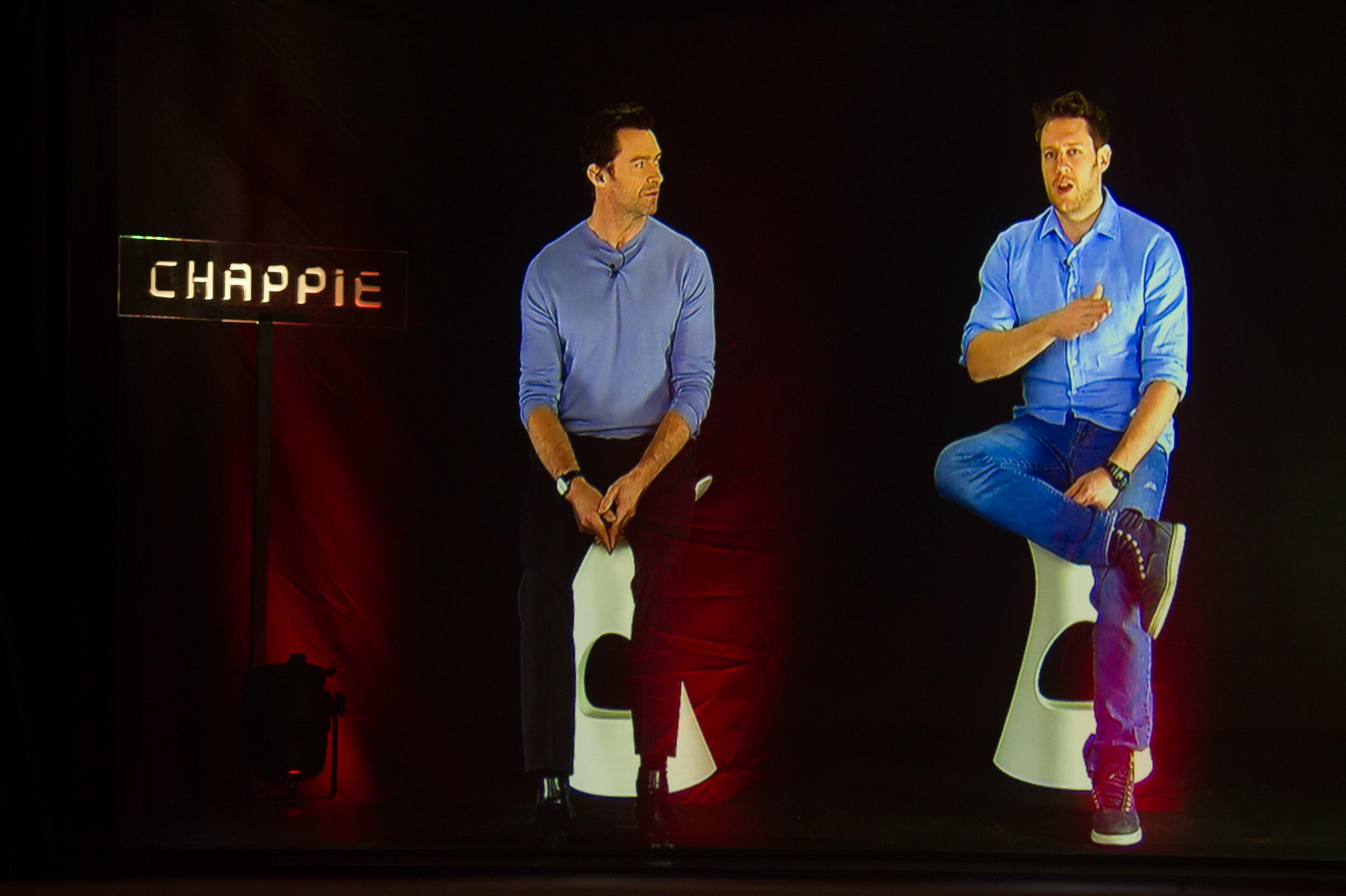 Hugh Jackman, Neill Blomkamp Talk 'Chappie' at Historic Hologram Press Conference