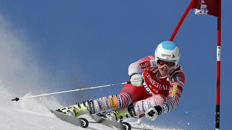 Mancuso of the U.S skis during the Women's World Cup Giant Slalom skiing race in Val d'Isere