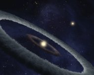 An artist's conception of a rocky, Earth-like planet forming in a star system 424 light-years away. A belt of rocky material feeds the planet's formation in this early stage.